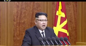 An  undated image from a video distributed on Sunday by North Korean broadcaster KRT, shows North Korean leader Kim Jong Un delivering a speech in Pyongyang. Photograph: AP