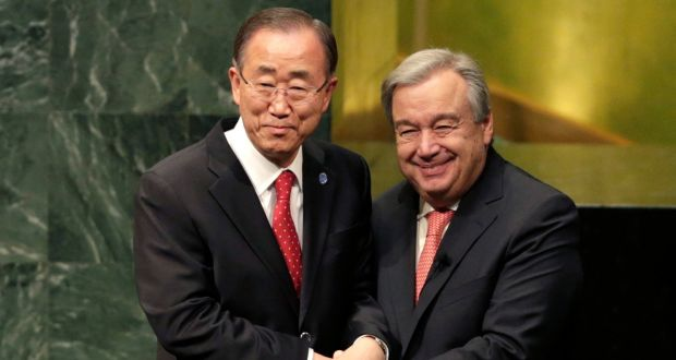Retiring Secretary-General Ban Ki-moon and incoming Secretary-General António Guterres