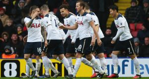 Dele Alli and Harry Kane scored twice each as Spurs routed Watford at Vicarage Road. Photograph: Getty/Alex Morton