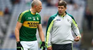 Kieran Donaghy chats with manager Eamon Fitzmaurice before last year's All-Ireland quarter-final against Kildare. Photograph: Cathal Noonan/Inpho