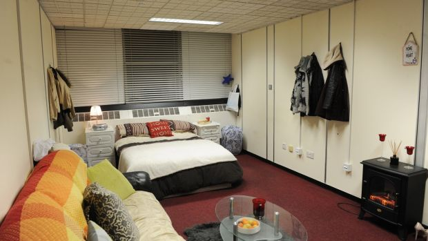 A bedroom for the homeless in Apollo House, Dublin. Photograph: Aidan Crawley