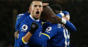 Kevin Mirallas celebrates with Enner Valencia after his goal finally broke the deadlock against Southampton. Photograph: Reuters/Andrew Yates