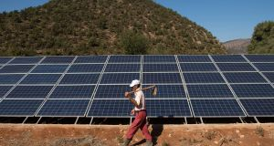Solar panels in Morocco: Dublin's Mainstream Renewable Power is one company that will take advantage of the increasing global interest in solar power. Photograph: Fadel Senna/AFP/Getty Images