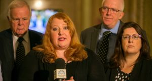 Alliance Party leader Naomi Long addresses media on Monday. Photograph: Liam McBurney/PA Wire