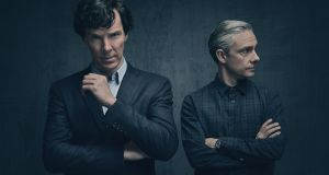 Benedict Cumberbatch and Martin Freeman as Sherlock Holmes and John Watson: A tousle-haired, mercurial automaton and his  peevish doormat