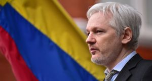 "Wikileaks founder Julian Assange: ""They are trying to say that president-elect Trump is not a legitimate president."" Photograph: Dominic Lipinski/PA Wire"