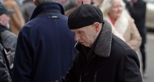 Brush Shiels at the funeral of Frank Murray. Photograph: Eric Luke