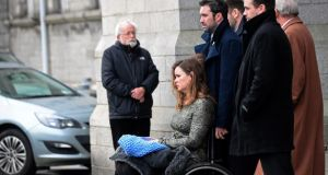 Shannon Murray at the funeral of her father  Frank Murray. Photograph: Eric Luke