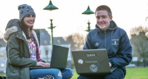 Leaving Cert student  Carla Warde, from Foxford, Co Mayo and fifth-year pupil Ciaran Flanagan, from Claremorris, Co Mayo, who enjoy coding and have received awards for their coding projects. Photograph: Keith Heneghan/Phocus