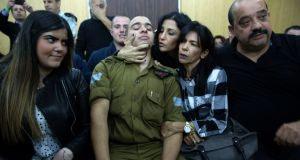 A military court sitting in Tel Aviv ruled that Sgt Elor Azaria, who was 19 at the time, had acted outside the army's rules of engagement when he killed Abdel Fattah al-Sharif in Hebron last March. Photograph: Heidi Levine, Pool via AP
