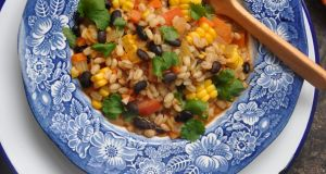 Pearl barley and black bean stew