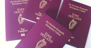 The Department of Foreign Affairs reported 67,972 passport applications from people in Northern Ireland and another 64,996 from people with Irish roots in Britain last year. Photograph: Bryan O'Brien
