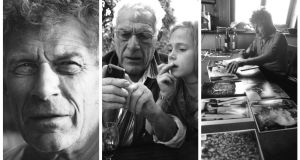 John Berger in 1994; Berger and his granddaughter Melina in 2010; and at work in 1980. Photographs: Jean Mohr
