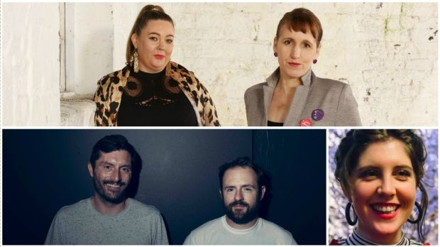 Top: Andrea Horan of HunReal Issues and Tara Derrington of MAM (Mothers Artists Makers). Bottom: Calvin and Andy Sweeney of Syria's Vibes; Rosi Leonard of Irish Housing Network