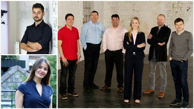 Clockwise: Patrick Leddy of Pulsate; (main image, left to right) Howard Kim, Sylvester Mooney and Oisín Kim of WebDoctor; Stephanie Keogh and Bryan Deegan of iGeotec; Dr Nora Khaldi of Nuritas