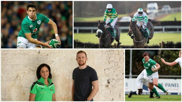 Clockwise: Joey Carbery in action for Ireland during the autumn internationals; jockey Rachael Blackmore (on right) in action against Barry Geraghty; Lindsay Peat in rugby mode - she also excels at Gaelic football and basketball; Boxer Christina McMahon and soccer player Séan Hoare