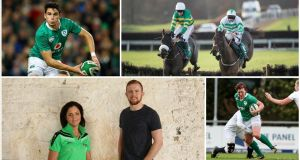 Sport: (clockwise from top left) Joey Carbery in action for Ireland during the autumn internationals; jockey Rachael Blackmore (on right) in action against Barry Geraghty; Lindsay Peat in rugby mode - she also excels at Gaelic football and basketball; Boxer Christina McMahon and soccer player Séan Hoare