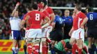 Referee Alain Roland issues a red card  to Wales's Sam Warburton for an alleged spear tackle in the semi-final of the 2011 World Cup in New Zealand.