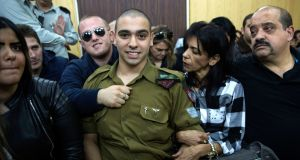 Israeli solider Sgt Elor Azaria who was convicted of manslaughter in the deadly shooting of an incapacitated Palestinian attacker. Photograph: Heidi Levine/Pool via AP