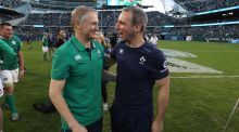 "Ireland rugby coach Joe Schmidt with Enda McNulty at Soldier Field in Chicago. ""The best of the best are the ones who aren't sceptical. They're the ones who want to push it forward."" Photograph: Billy Stickland/Inpho"