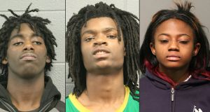 Mugshots released by the Chicago police department of assault suspects (left to right) Jordan Hill, Tesfaye Cooper and Brittany Covington. Photograph: AFP