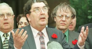 John Hume speaking at the conclusion of the Good Friday Agreement talks in Stormont: the agreement allowed for something more consensual to emerge between Catholics and Protestants. Photograph: Alan Betson