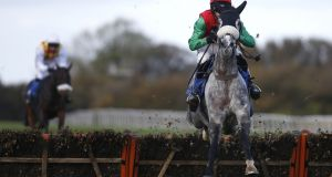 Harry Cobden riding Capitaine at Wincanton last November. Although the five-year-old grey was turned over on his penultimate start at Haydock, he made amends with a frontrunning success in a Grade Two at Ascot last month. Photograph: Alan Crowhurst/Getty Images