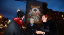 Melanie Lynch, founder and director of Her Story, launching the four-day festival  during Nollaig na mBan  with her mother Maria Bourke (right) and  grandmother  Maureen Bourke (centre) at a light installation on Dame Street in Dublin. Photograph: Alan Betson/The Irish Times