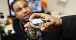 A jar of buds  at a medical marijuana center in Denver, Colorado. Photograph: Reuters