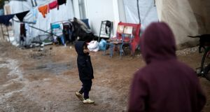 December in a refugee camp in Ritsona, Greece. The Minister for Justice has committed to ensuring that 1,100 asylum seekers arrive in the State by September. Photograph: Reuters/Alkis Konstantinidis