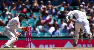 Matthew Wade runs out Mohammad Amir on the final day in Sydney as Australia secured a 3-0 series whitewash. Photograph: Reuters/David Gray