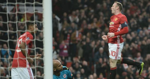 ec4c15cf421 Wayne Rooney celebrates scoring Manchester United s first goal against  Reading in the FA Cup third round