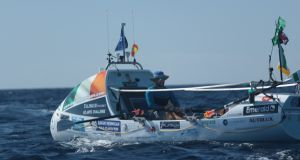 Irish rower Gavan Hennigan in action in the Talisker Whisky Atlantic Challenge.