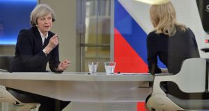 British prime minister Theresa May being interviewed by Sophy Ridge on Sky News in London on Sunday. Photograph: John Stillwell/PA Wire