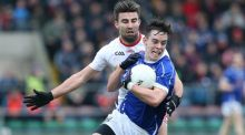 Cavan's Gerard Smith is tackled by Tiernan McCann of Tyrone during his side's opening McKenna Cup win. Photograph: Inpho/Andrew Paton