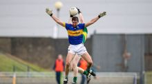 Kerry's Brian O'Seanachain with Martin Dunne of Tipperary during the Kingdom's comfortable McGrath Cup win. Photograph: Inpho/Tommy Dickson