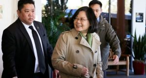 "Taiwanese president Tsai Ing-wen during a ""transit stop"" in Houston, Texas, where she met senior Republicans en route to Central America. Photograph: James Nielsen/Reuters"