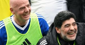 Diego Maradona has endorsed Fifa President Gianni Infantino's proposals for a 48-team World Cup. Photograph: Epa/Walter Bieri