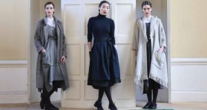Karen wears a pinafore-style dress and coat in herringbone tweed, both by Mariad Whisker for John Hanly. Yomiko wears a black linen skirt with navy apron by 31 Chapel Lane. Louise wears a tweed pinafore-style dress and eco-friendly wool parka coat by Mariad Whisker for John Hanly.