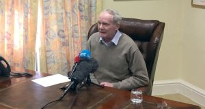 Martin McGuinness announcing his resignation at his office in Stormont Castle on Monday. Handout photo issued by Sinn Féin.