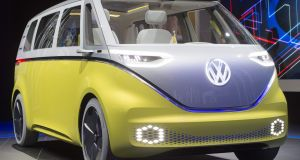 The Volkswagen ID Buzz minibus concept is unveiled at  the Detroit motor show in  Michigan. Photograph: Saul Loeb/AFP/Getty Images