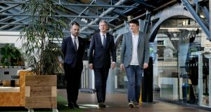 UK chancellor of the exchequer Philip Hammond (centre) meeting Gerry Mallon, chief executive of Ulster Bank (left) and Patrick Walsh, MD of Dogpatch Labs during a visit to the Dogpatch Labs co-working space in Dublin. Photograph: Maxwell Photography/PA Wire