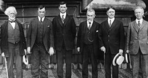 Eamon de Valera (centre), with Irish-American leaders in New York in July 1919. From  left: Justice John Goff, Justice Daniel F Cohalan, de Valera, John Devoy, Justice Gavagan and Justice Moore. Photograph: Topical Press Agency/Hulton Archive/Getty Images