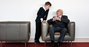 October 2014: TK Whitaker with his grandson Conor, age 10,  during a gathering organised by the SDLP  to honour his life and achievements. Photograph: Brenda Fitzsimons