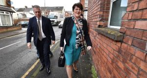 DUP leader and Northern Ireland First Minister Arlene Foster arrives at DUP headquarters in Belfast, Northern Ireland.  Photograph: Charles McQuillan/Getty Images