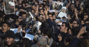Mourners at the funeral of former Iranian president Akbar Hashemi Rafsanjani, a pivotal figure in the foundation of the Islamic republic in 1979. Photograph:  Majid Saeedi/Getty Images