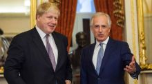 British foreign secretary Boris Johnson and Republican senator Bob Corker on Capitol Hill in Washington. Photograph: Zach Gibson/AFP/Getty Images
