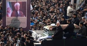 Hundreds of thousands of mourners attend the funeral of former Iranian president Akbar Hashemi Rafsanjanii, in Tehran, Iran. Photograph: Majid Saeedi/Getty Images
