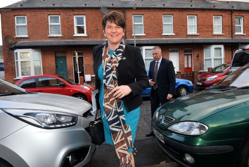 UNDER PRESSURE: First Minister of Northern Ireland and DUP leader Arlene Foster arrives at DUP headquarters in east Belfast, the day after Martin McGuinness resigned as deputy first minister over the 'cash for ash' scandal. Photograph: Colm Lenaghan/Pacemaker Press