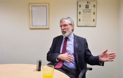 'CASH FOR ASH': Party leader Gerry Adams at Sinn Féin headquarters on Belfast's Falls Road. Arlene Foster has stated that she is open for discussions with Sinn Féin in the next few days. Photograph: Arthur Allison/Pacemaker